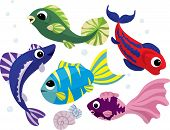 Bright colored cartoon fishes set vector illustration for design poster