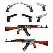 Realistic pistols revolvers and Kalashnikov machine gun shows two side arms. Isolated objects on a white background can be used with any image or test. poster