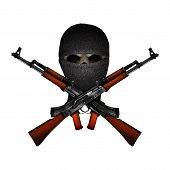 skull terrorist masked and Kalashnikov machine guns. Isolated objects on a white background can be used with any image or text. poster