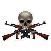 Skull with crossed machine guns Kalashnikov AK-47. Isolated objects can be used with any image or text. poster