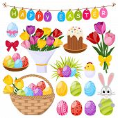 Easter day decorative icons set with colorful eggs bunny chick in eggshell cake bow isolated vector illustration poster