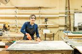 Portrait of a cute Hispanic female carpenter working on a cabinet door using a wood gouge in her woodshop poster