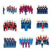 Choir flat icons collection of 9 musical ensembles of singing people led by conductor colorful isolated vector illustration poster