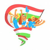 Cheering Happy Supporting Crowd Of National Italian Football Spots Team Fans And Devotees With Banners And Attributes. Sportive Support Team With Flags Screaming And Smiling On A Stadium Vector Illustration. poster