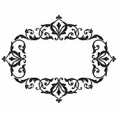 Vintage baroque frame scroll ornament engraving border floral retro pattern antique style acanthus foliage swirl decorative design element filigree calligraphy vector | damask - stock vector poster