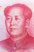 Mao Zedong on 100 chinese yuan banknote. poster