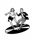 Retro Dancers On A Vinyl Record - Retro Clip Art poster