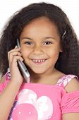 adorable girl speaking on the telephone a over white background poster