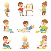 Little Kids In Art Class In School Doing Different Creative Activities, Painting , Working With Putty And Cutting Paper. Children And Creativity Set Of Cute Cartoon Characters Learning Craft Vector Illustrations. poster