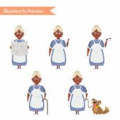 African American Grandmother housewife character for scenes. Funny African American Grandmother housewife cartoon. poster