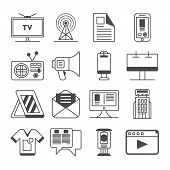 Media and advertisement icon set isolated vector illustration. Online business, social media marketing, product promotion, merchandising, billboard and tv ads logo. Advertising linear pictogram pack. Media icon pack. Media sign. poster