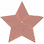 Vector illustration of distorted red five-pointed star on a white background creates an optical illusion. poster