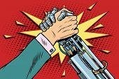 Man vs robot Arm wrestling fight confrontation, pop art retro vector illustration. New technology progress poster