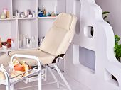 Massage table room. Spa treatment design interior. Decor ideas of cabinet beauty parlor. poster