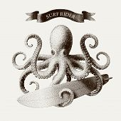 Vector octopus tentacles holding a surfboard in the style of vintage etchings. Eps8. RGB Global colors poster