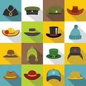 Headdress hat icons set. Flat illustration of 16 headdress hat vector icons for web poster