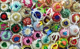 Rosettes used in the sartiglia festival to decorate costumes and horses