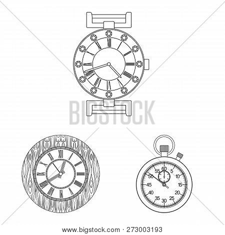 Vector Illustration Of Clock And Time Symbol. Collection Of Clock And Circle Vector Icon For Stock.