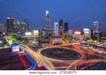 29 March 2016, Top View Of Ho Chi Minh City Near Ben Thanh Market  At Night Time, Ho Chi Minh City,