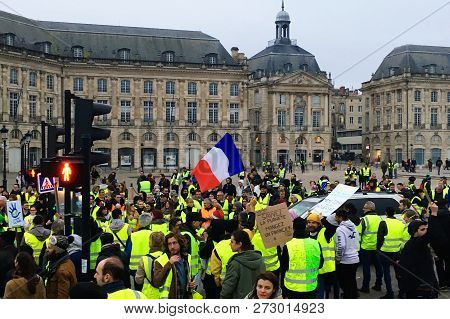 Bordeaux, France - December 8, 2018: Yellow Vest Protests Against Increase Taxes On Gasoline And Die