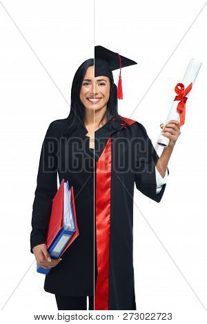 Happy Woman In Two Occupations Of Accountant And University Graduate Isolated On White Background. S