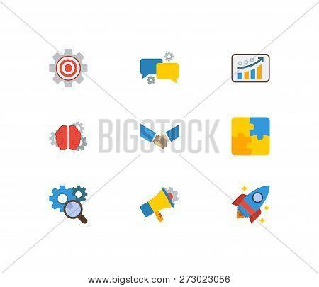 Technology Partnership Icons Set. Marketing And Technology Partnership Icons With Brainstorming, Tec