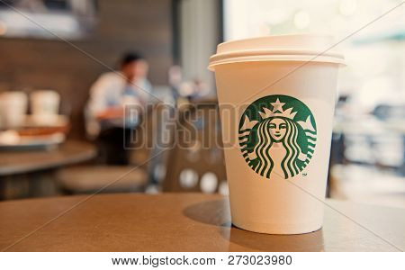 Berlin, Germany-may 31.2017: A Tall Starbucks Coffee In Starbucks Coffee Shop. Starbucks Is The Worl