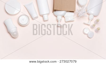 Cosmetic Skin Care Products With Kraft Paper Merchandise Bag. Buying Cosmetics, Beauty Shopping Back