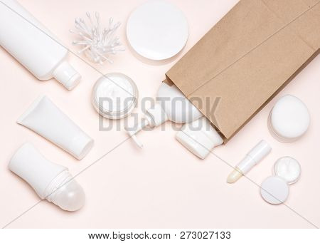 Cosmetic Skin Care Products With Kraft Paper Merchandise Bag