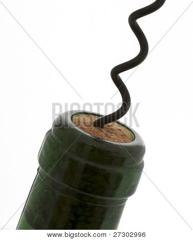 corkscrew on the bottle, isolated on a white background