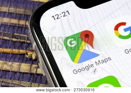 Sankt-petersburg, Russia, December 5, 2018: Google Maps Application Icon On Apple Iphone X Screen Cl