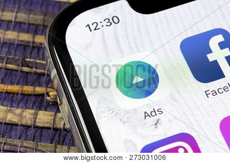 Sankt-petersburg, Russia, December 5, 2018: Facebook Ads Application Icon On Apple Iphone X Screen C