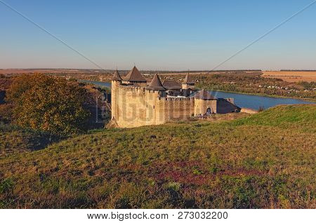 Scenic View Of Medieval Khotyn Castle. Fortress Located On The The Right Bank Of The Dniester River.
