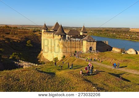 Landscape View Of Medieval Khotyn Castle. Fortress Located On The The Right Bank Of The Dniester Riv