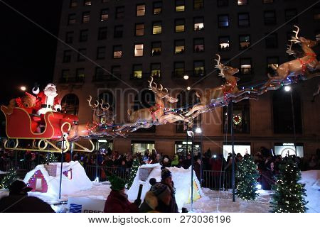 Santa Claus On A Red Sleigh In The Festival Of Lights Parade, Chicago, Il November 17, 2018