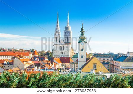 Croatian Capital Zagreb, City Skyline, Catholic Cathedral And Red Roofs In City Center, View From Up