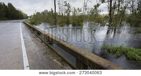Water From Hurricane Florence Rising Under A Bridge Near Fayetteville North Carolina