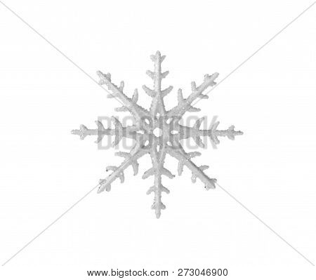 Christmas Toy Snowflake For The New Year Tree Isolated On White Background