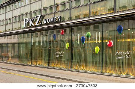 Zurich, Switzerland - December 6, 2015: Facade Of A Building Housing A Pkz Women Store In The Downto