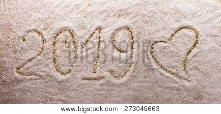 Bright Beautiful Lettering 2019 New Year And A Big Heart A Snow Background