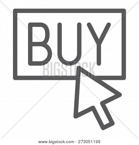 Buy Now Line Icon, Shopping And Commerce, Buy Button Sign, Vector Graphics, A Linear Pattern On A Wh
