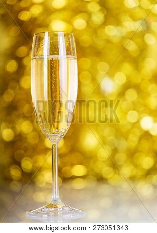 New Year's Champagne Bubbles On A Bright Yellow Background