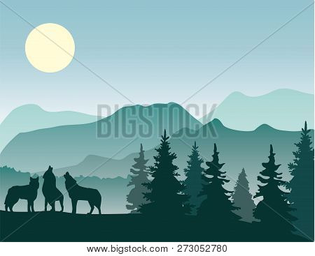 Vector Illustration Of Mountain Landscape Background With Howling Wolves.
