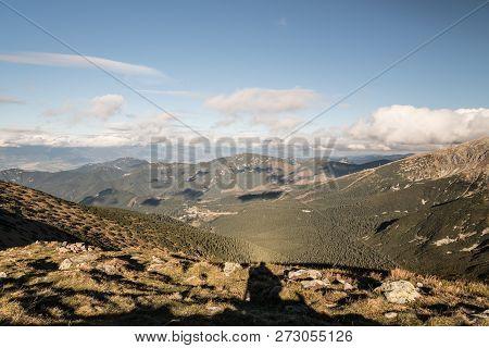 Biew From Polana Hill On Main Ridge Of Nizke Tatry Mountains Above Demanovska Dolina Valley In Slova