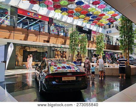 Bacau, Romania - August 5, 2018: New Audi A7 Sb Quattro Exposed In Audi Center Showroom, Arena Mall