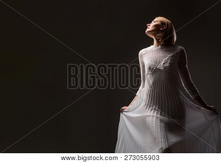Beauty, Fashion. Silhouette Of Retro Blonde Lady In Fashionable White Dress. Sexy Woman In Lace Whit
