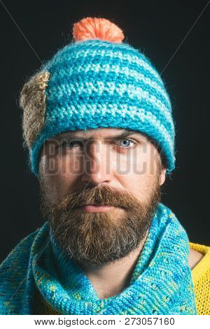 Winter/autumn Concept. Bearded Man In Knitted Hat And Scarf. Men Winter Fashion Style. Ready For Win