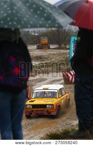 Sveta Nedjelja, Croatia - November 25, 2018. 9th Rally Show Santa Domenica. Spectators Watching Race