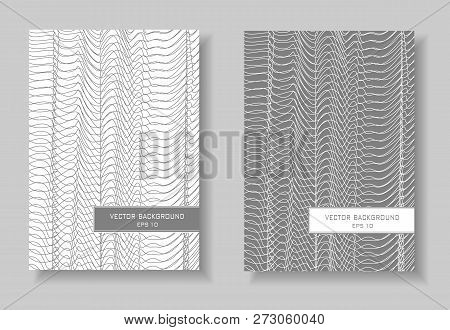 Book Covers Set. Abstract Layout. Gray And White Line Art Design. Waving Squiggle Thin Curves, Net P