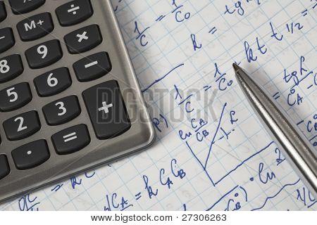 hand written maths calculations